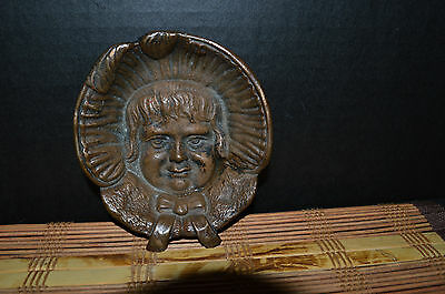 """Antique Heavy Bronze Girls Face Dish Bowl Footed  4 3/4""""x1"""""""