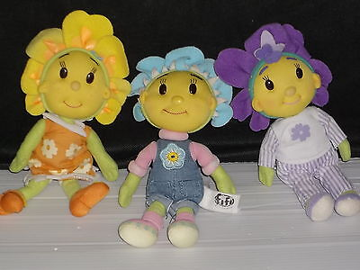 "FIFI & THE FLOWER TOTS 3 delightful FIFI SOFT BODIED DOLLS 8"" & SO CUTE!"