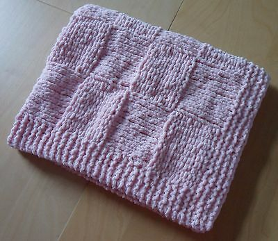 Unique Hand Knitted Super Soft Chenille Baby Blanket - Pink - Pram, Car Seat