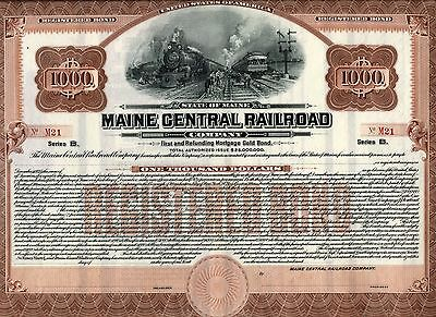 Large bond, unissued, 10x13 inches, Maine Central Railroad No. M21