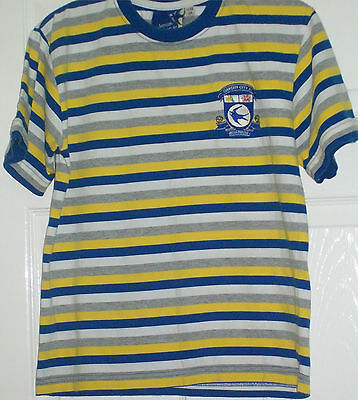 FOOTBALL CARDIFF CITY CASUAL TOP, OFFICIAL, BOYS AGE 11-12 Yrs, BLUE YELLOW WHIT