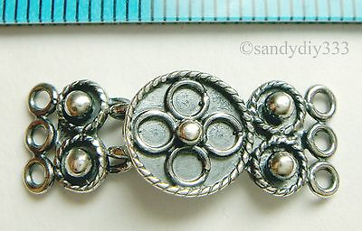 1x OXIDIZED STERLING SILVER 3-STRAND FLOWER HOOK CLASP 9mm x 23mm N246