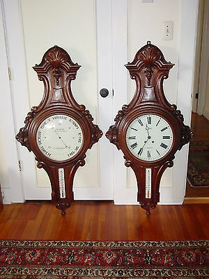 Monumental pair antique carved French wall clock and barometer----15411