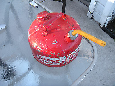 "Vintage Eagle ""The GASSER"" 2 1/2 Gallon Metal Gas Can with Spout and Cap"