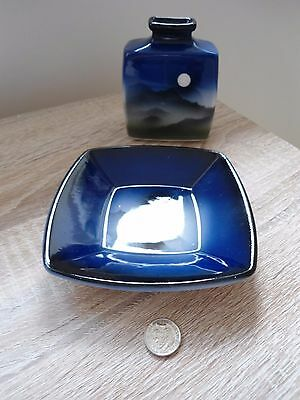 Cobalt blue studio pottery contemporary style mini vase with pin tray