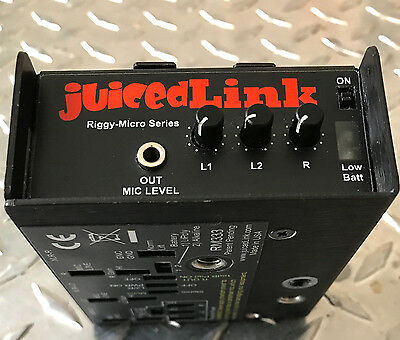 Juicedlink Micro Riggy RM333 Pre-Amp w Cables & Battery - DSLR Audio