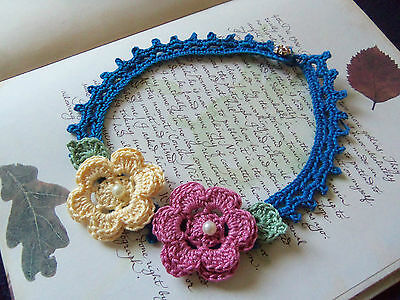 Handmade Blue Crochet Flower Necklace.