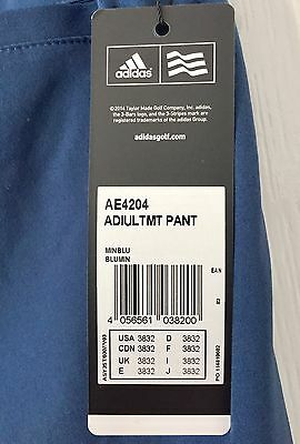 Adidas Golf Trousers, 38/32, Ultimate Tapered Fit, Mineral Blue
