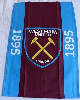 West Ham United '1895' Large Crest Claret Blue Tea Towel Brand New