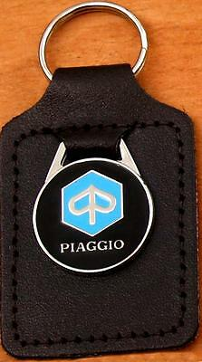 Piaggio Keyring Key Ring - badge mounted on a leather fob