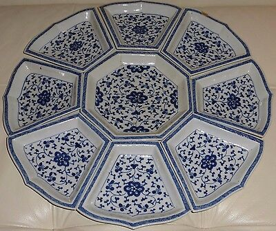 Vintage Chinese Blue And White Ming Style Pottery Wares Glazed Server Tray
