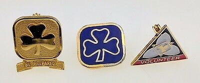Lot of 3 Girl Guide Pins Be Prepared Volunteer Ontario Square Blue Scouts Lapel