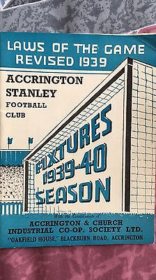 Accrington Stanley Fixtures 1939 - 1940 Booklet Football Season That Never Was.