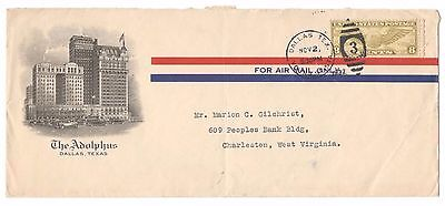 1932  Air Mail Commercial cover Nice Cachet of the Adolfus Hotel Dallas Texas