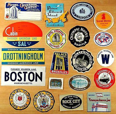 Lot of 20 Vintage Luggage Labels Hotels Europe & USA Ocean Liners Cruise Ships