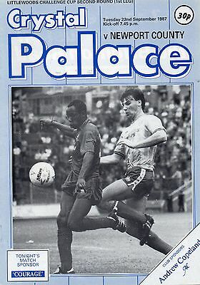 Sep 87 CRYSTAL PALACE v NEWPORT COUNTY League Cup