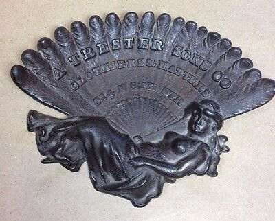 Cast Iron Advertising Tray A Trester Sons Co. Clothiers and Hatters early 1900s