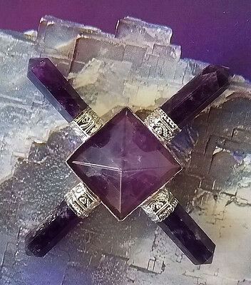 Stunning Solid Amethyst Crystal Pyramid  Energy Generator With 4 Points, Reiki