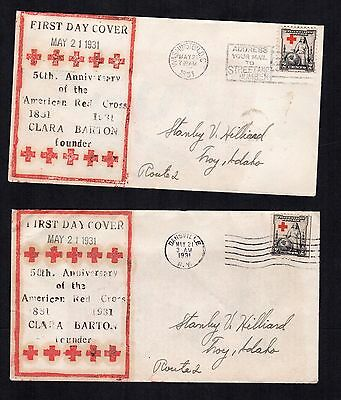 702 - Red Cross first day covers - D.C and Dansville - matching Stanley Hilliard