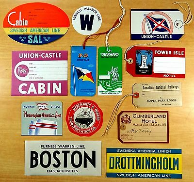 Lot of 7 Vintage Cruise Ship Luggage Labels and 6 Ship & Hotel Luggage Tags nice