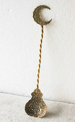 Vintage/antique brass fancy Eastern/Asian motif handcrafted spoon, crescent moon