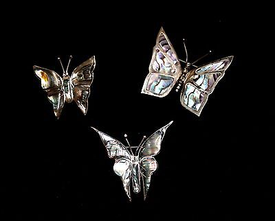 Vintage Butterfly Abalone Brooches, Sterling Silver, Stamped with Maker's Marks