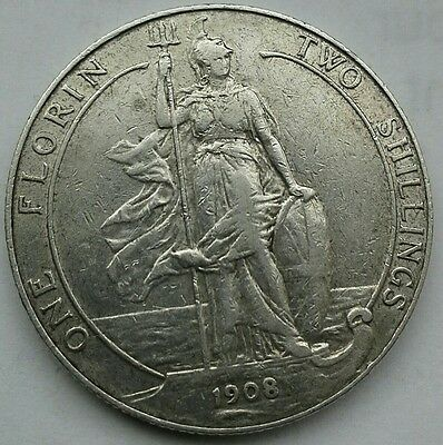 1908 EDWARD VII FLORIN/TWO SHILLINGS. VF CONDITION.  (Ref:140)