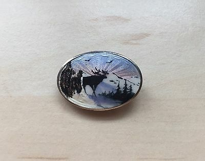 Collectable Rare Solid Silver 925 Norway Guilloche Enamel Scenic Reindeer Brooch