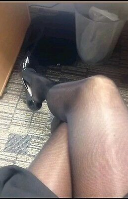 Pre-loved secretary Black glossy Tights/nylons/pantyhose 10 denier