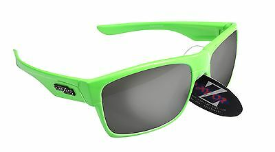 RayZor Uv400 42 Neon Green Framed Smoked Mirrored Lens Cricket Sunglasses RRP£49