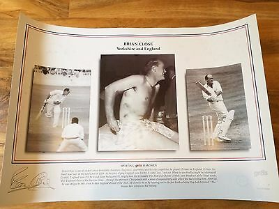 Magnificent Signed Brian Close Cricket  Print.-Yorkshire,somerset,england.-Rare!