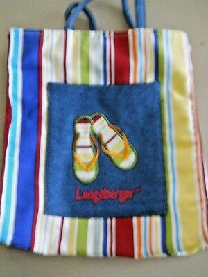 Longaberger Striped Canvas Tote/Lunch/Beach Bag Embroidered Flip-Flops on Pocket
