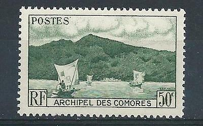 1950 Comoro Islands Sc# 31 Anjioun Bay boat French territory MNH