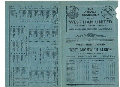 West Ham United v West Bromwich Albion - 04/09/1948