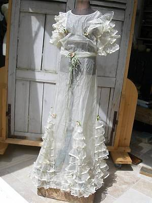 Extraordinary antique French 1920s child's bridesmaid's tulle lace ruffle dress