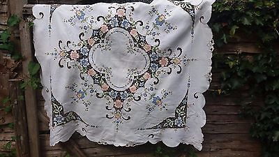 Vintage hand embroidery Madeira tablecloth white linen coloured floral