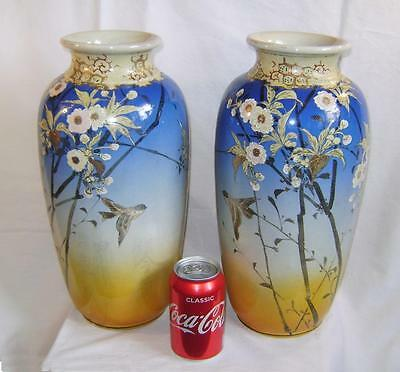 Pair Antique Japanese Satsuma Pottery Vases 14.5 Inches High C19th one A/F