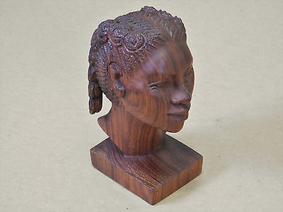 African Woman Wooden Wood Carving Statue Bust