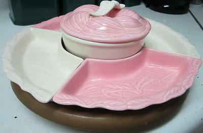 Hoening California Potteries Pink And White, Mid Century Lazy Susan, Beautiful!