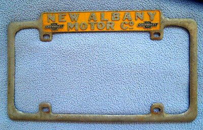 Vintage New Albany, Indiana Chevrolet Chevy Car Dealer License Plate Frame -RARE