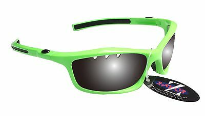 RayZor Uv400 Neon Green Vented Smoked Mirrored Lens Cricket Sunglasses RRP£49