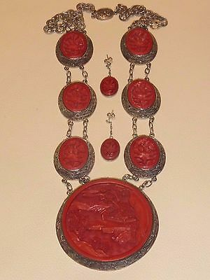Magnificent Vintage Chinese Red Cinnabar Silver Filigree Necklace & Earrings