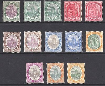 St Kitts & Nevis 1905-1918 Defs with Shades & Colour Changes, M/Mint (13)
