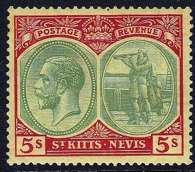 St Kitts & Nevis 1929 GV 5sh Red & Grey on Yellow, M/Mint SG cat = £50