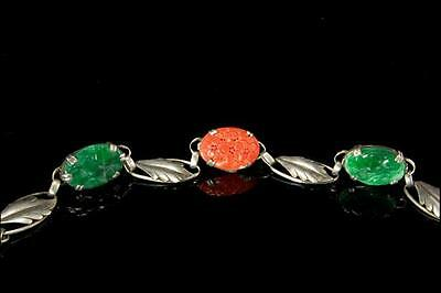 Antique Chinese Carved Deep Green Jade Salmon Coral Silver Bracelet (51417150)