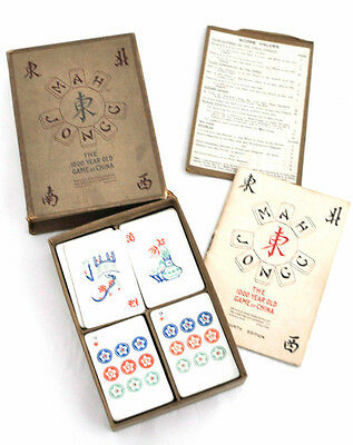 Vintage 1920s Chad Valley Mah Jongg Card Game Complete Boxed