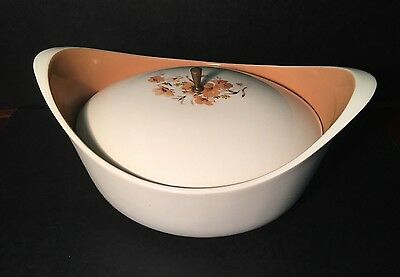 Taylor Smith Taylor Ever Yours Wood Rose Lidded Casserole Mid Century Modern Tan