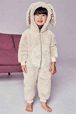 Next Girls Bunny Ears Fleece Soft Touch All In One 12-18 Months  New With Tags