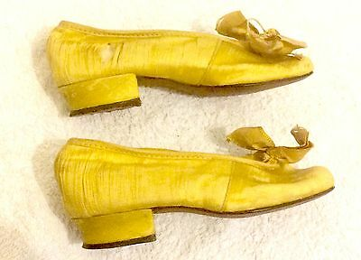 Antique Victorian Child's Yellow Silk Shoes ft. Bow, Heel, Leather Sole & Instep