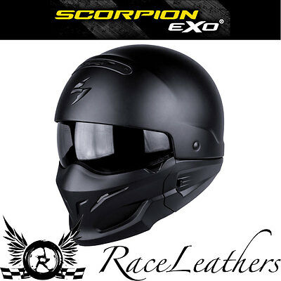 Scorpion Exo Combat Matt Black Crossover Open Face Motorcycle Motorbike Helmet